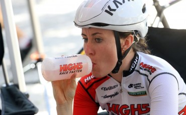image of cyclist drinking from High5 bottle