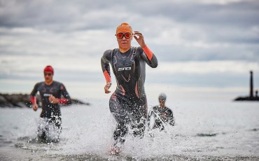 Athletes competing in a triathlon