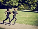 Runners in compression clothing in the park