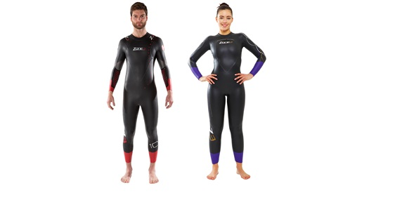 Image of a man and woman wearing a Performance Fit Zone3 wetsuit