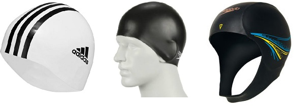 Image of three swim hats