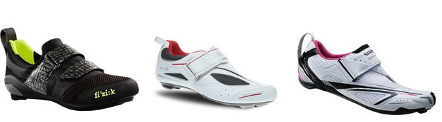 Image of three triathlon road shoes
