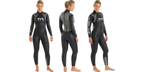 Image of a woman wearing a Full Cut wetsuit from 3 different angles